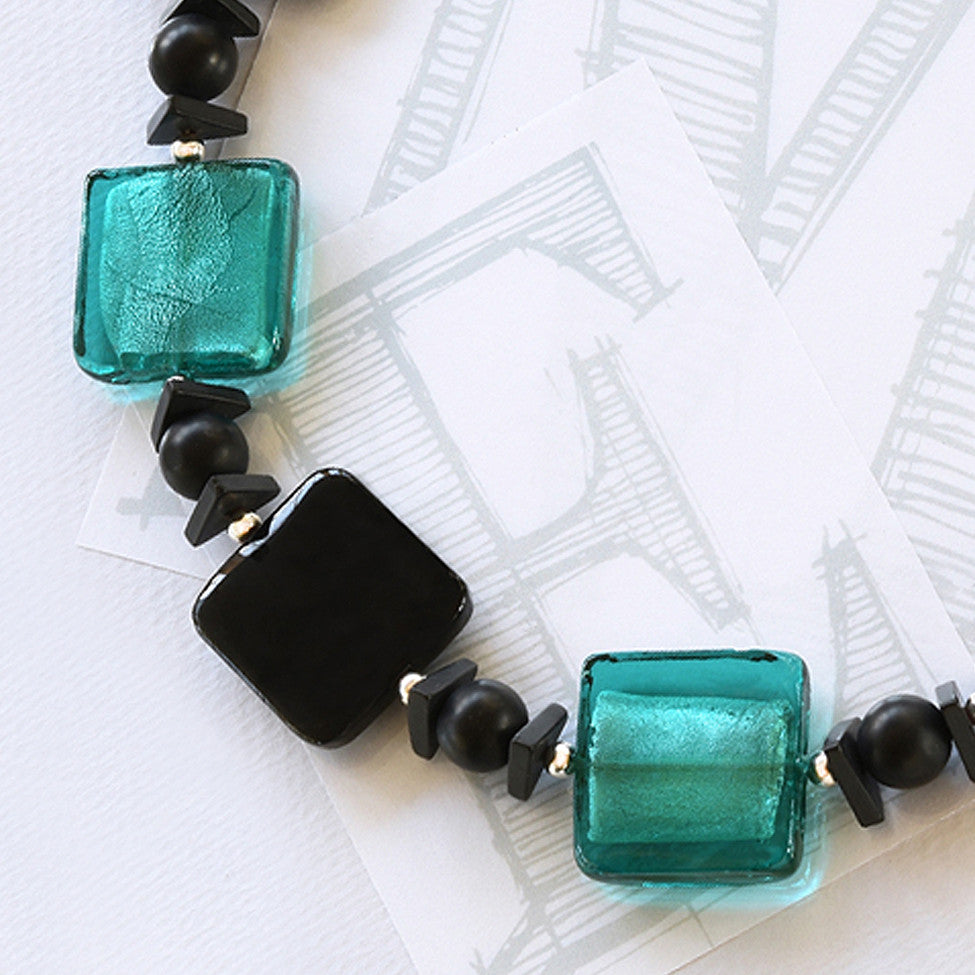 Darcy square black agate, turqouise glass and silver necklace by Elli