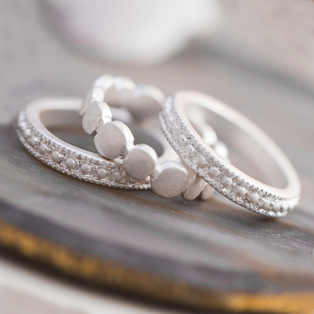 Tutti antique silver finish dotted ring set - Ellimonelli