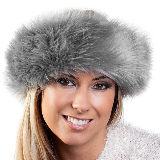 Grey frost faux fur headwarmer