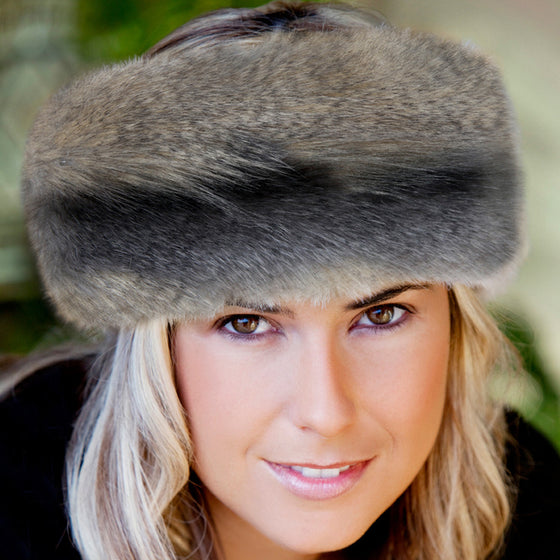 Grey wolf faux fur headwarmer