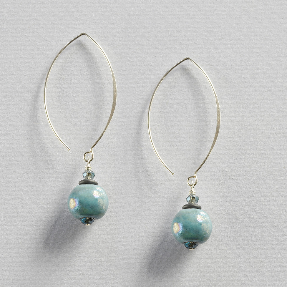 Finty 925 silver earrings with ceramic mottled turquoise drops by Elli
