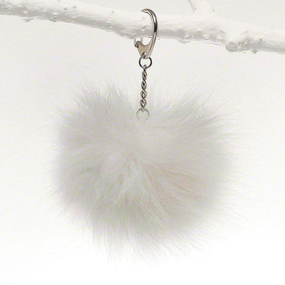 White luxury fox fur fob for bag, tote and luggage