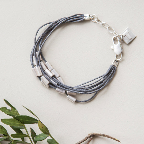 Tutti grey/antique silver finish cord/beaded bracelet - Ellimonelli