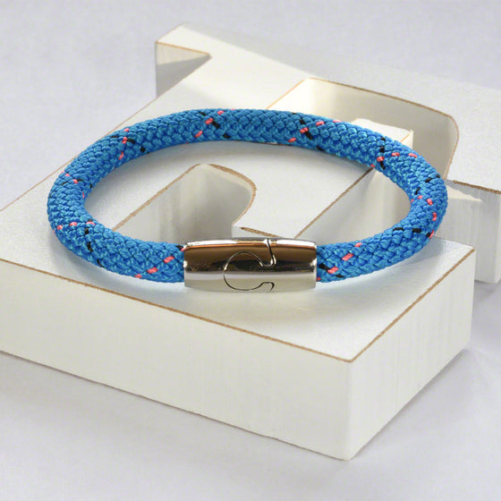 Blue hot air rope  bracelet with stainless steel magnetic clasp