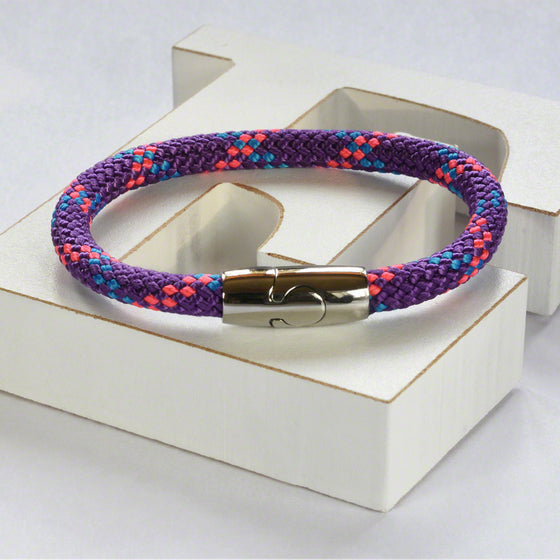Purple hot air rope  bracelet with stainless steel magnetic clasp