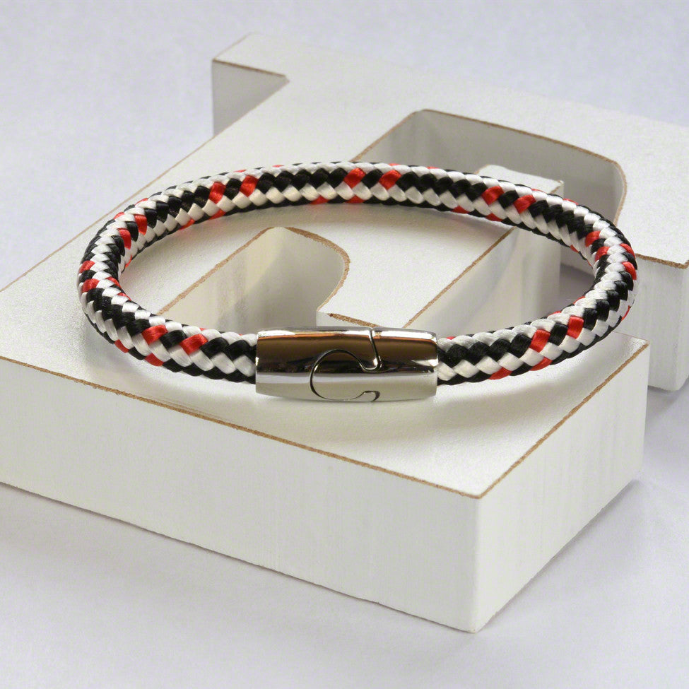 White/black hot air rope  bracelet with stainless steel magnetic clasp