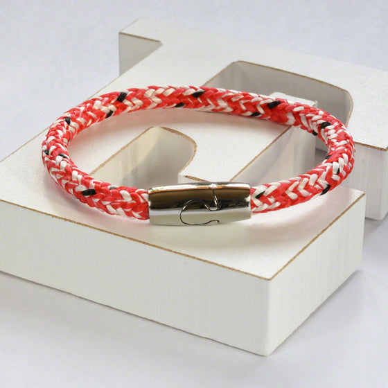 Red/white hot air rope  bracelet with stainless steel magnetic clasp