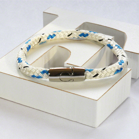 White/aqua hot air rope  bracelet with stainless steel magnetic clasp