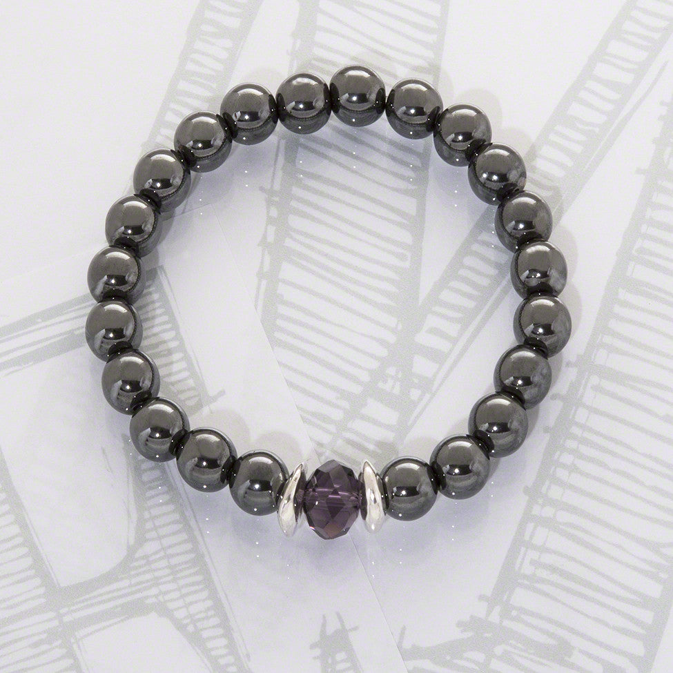 Logan semi-precious hematite/purple crystal  bracelet by Elli