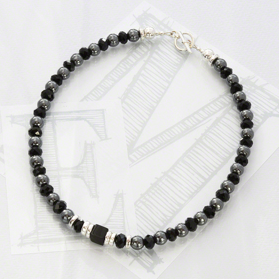 Lucca semi-precious hematite and black crystal necklace by Elli