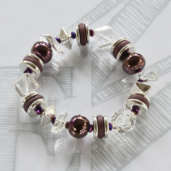 Mimi semi-precious crystals, ceramic amethyst and silver bracelet by Elli