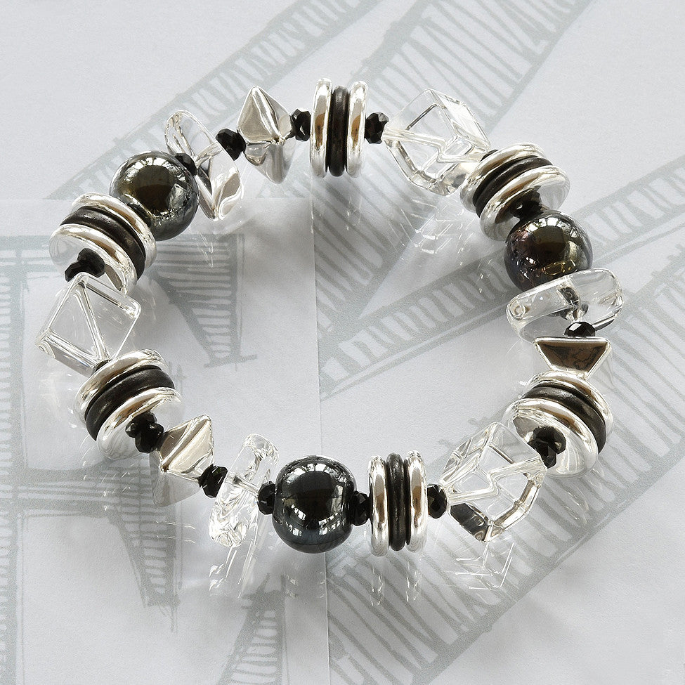 Mimi semi-precious crystals, ceramic black and silver bracelet by Elli