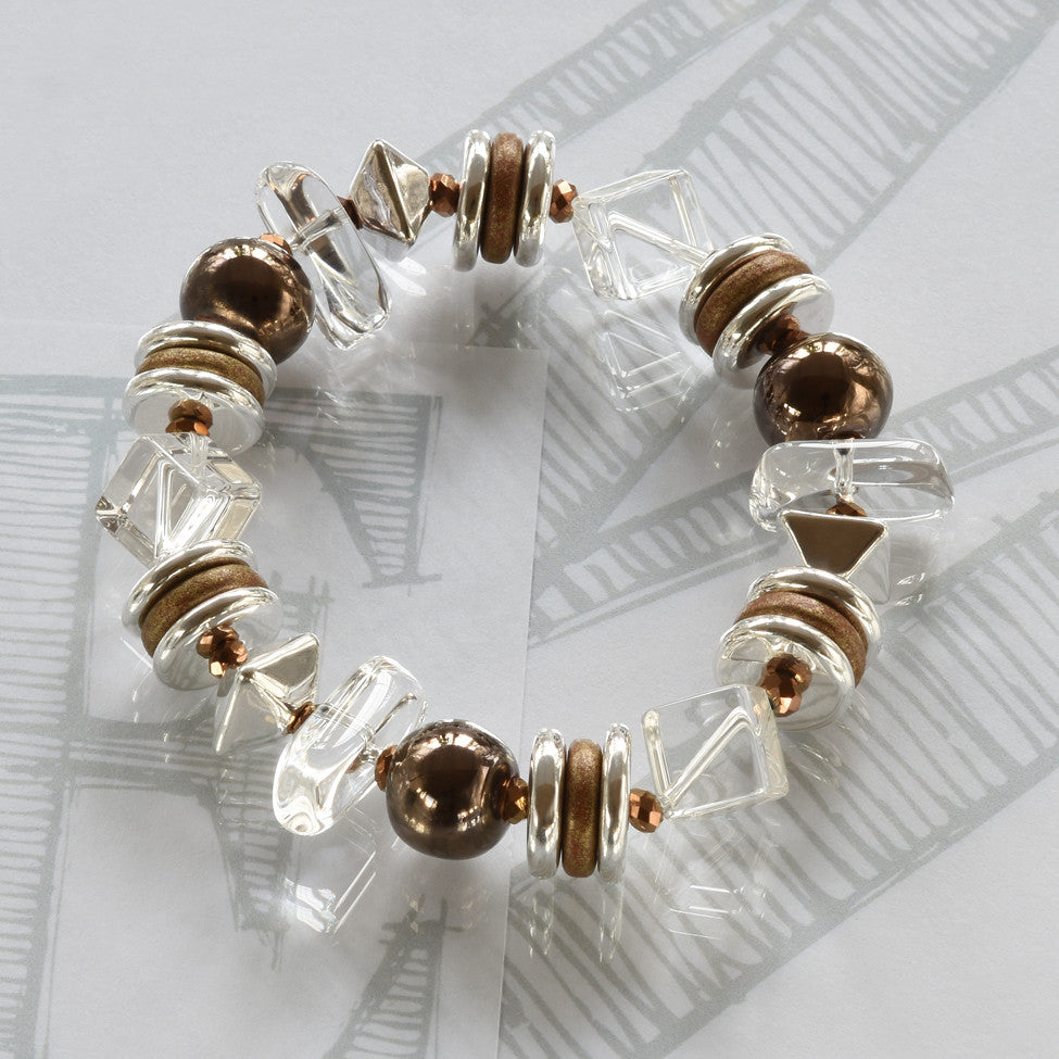 Mimi semi-precious crystals, ceramic bronze and silver bracelet by Elli