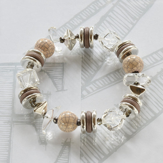 Mimi semi-precious crystals, ceramic cream and silver bracelet by Elli