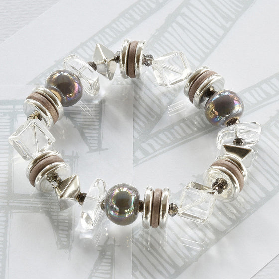 Mimi semi-precious crystals, ceramic grey and silver bracelet by Elli