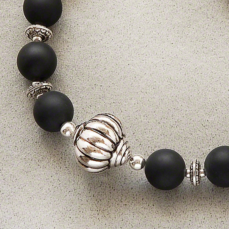 Paloma quirky black satin matt/antique silver necklace by Elli