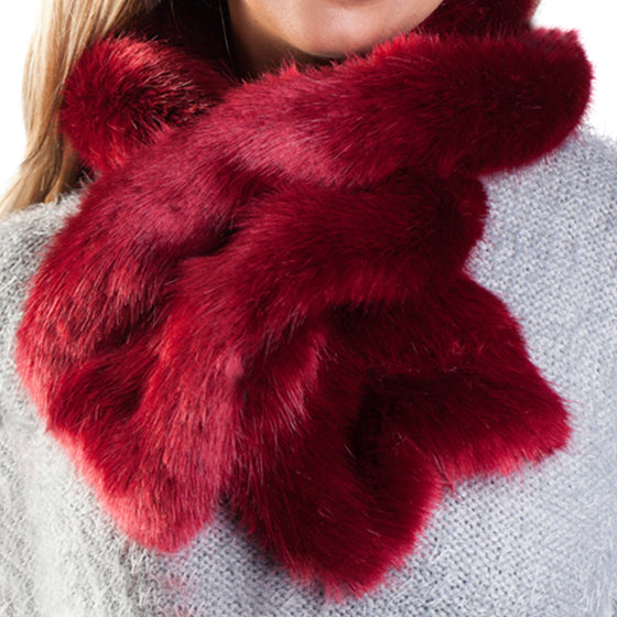Cranberry faux fur ruffle scarf with velvet lining