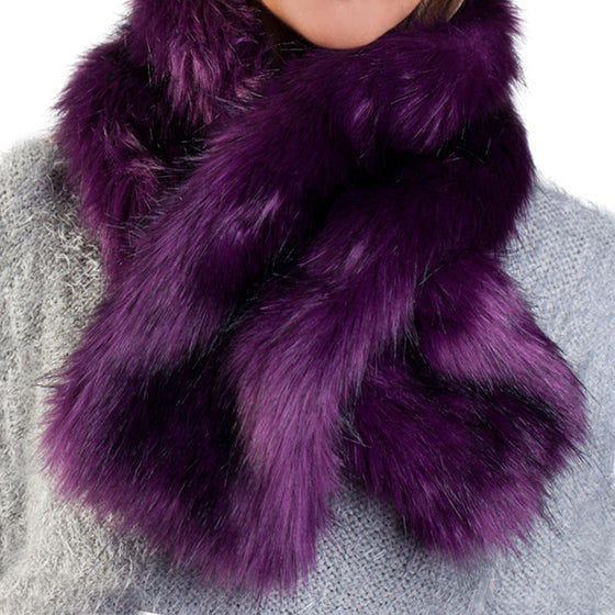 Purple faux fur ruffle scarf with velvet lining