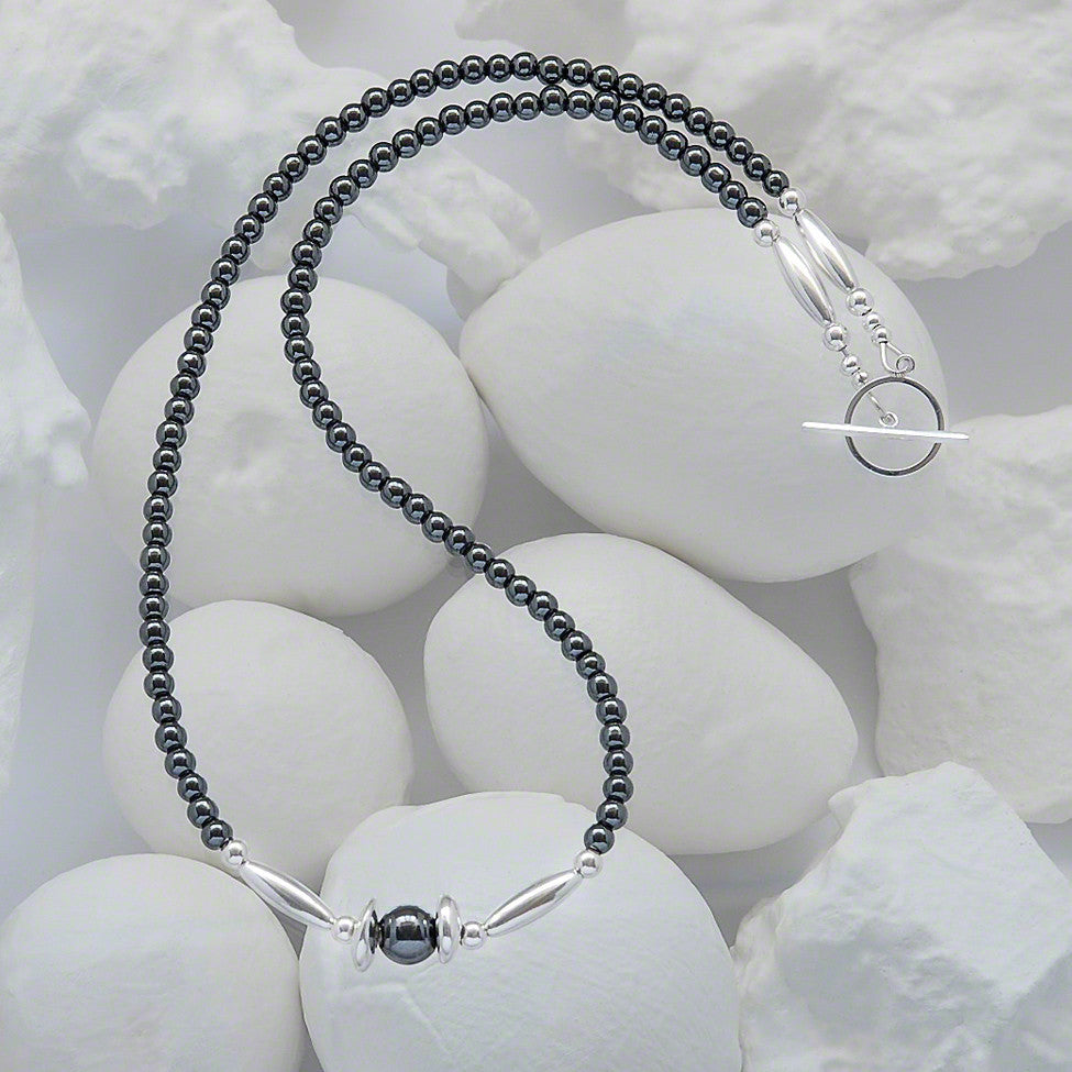 Tillie delicate semi-precious hematite/silver necklace by Elli