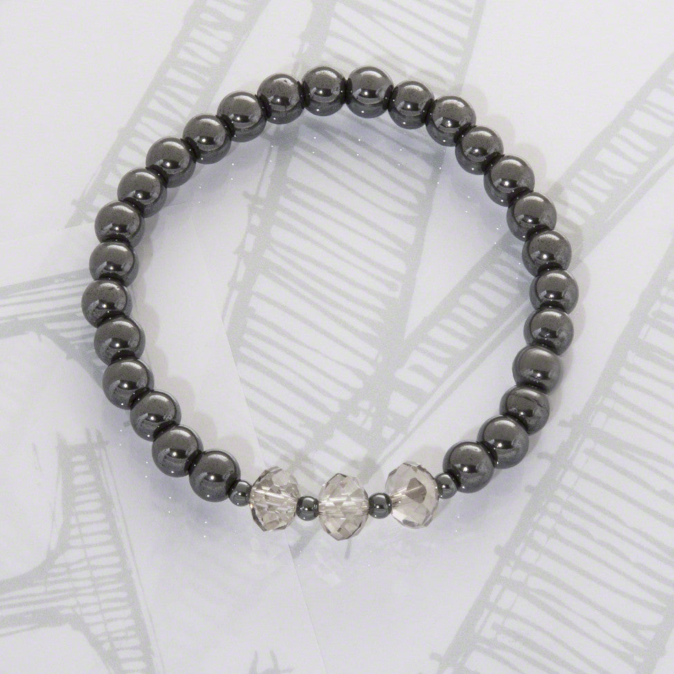 Tish semi-precious hematite/grey shadow crystal bracelet by Elli