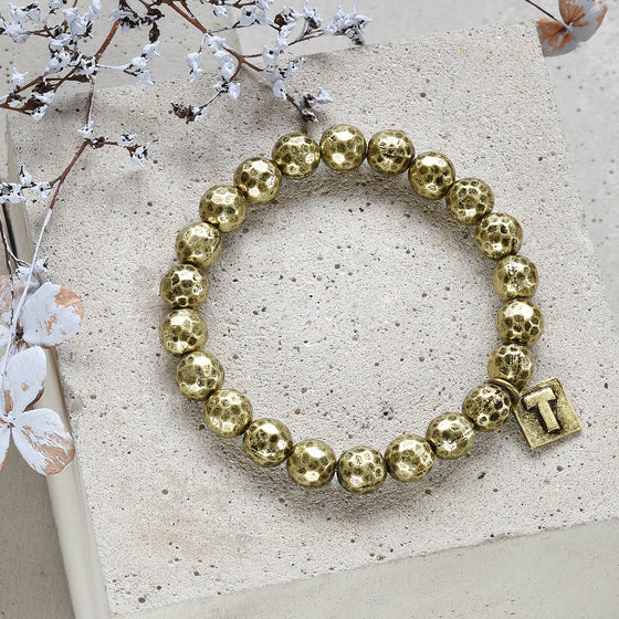 Tutti antique gold finish dimpled metal beaded bracelet - Ellimonelli