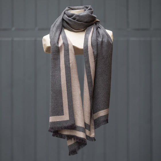 Tutti luxurious grey/plum wrap with selvedge edge detail - Ellimonelli