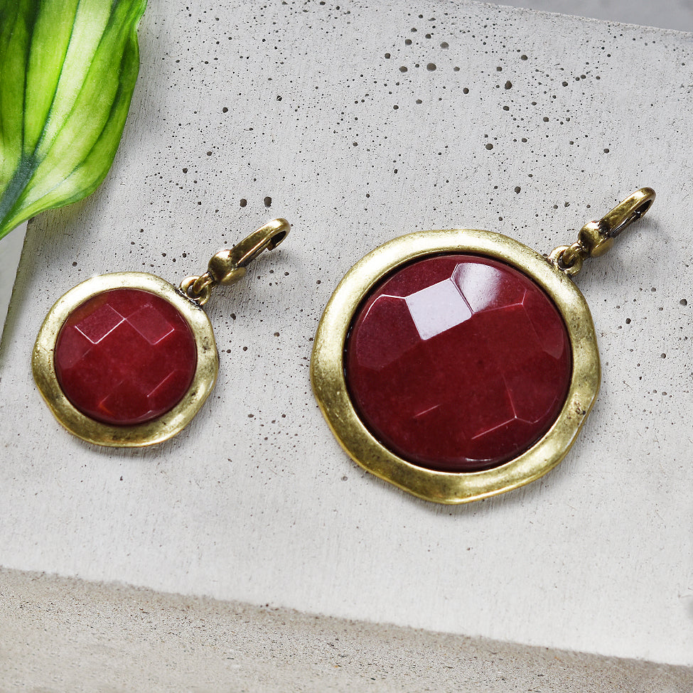 Tutti antique gold finish large & medium red stone charm - Ellimonelli