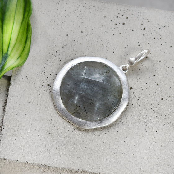 Tutti antique silver finish large grey faceted stone charm - Ellimonelli
