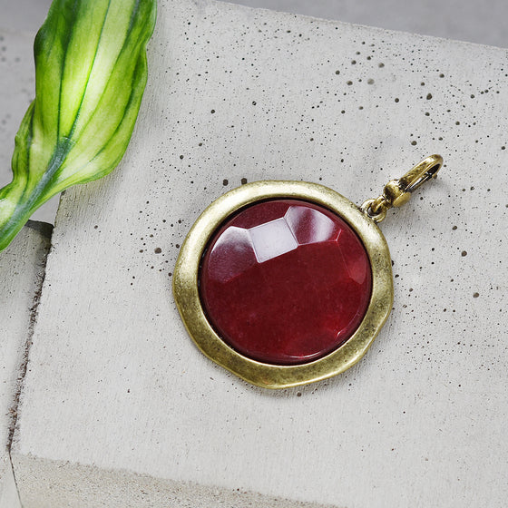 Tutti antique gold finish large red faceted stone charm - Ellimonelli
