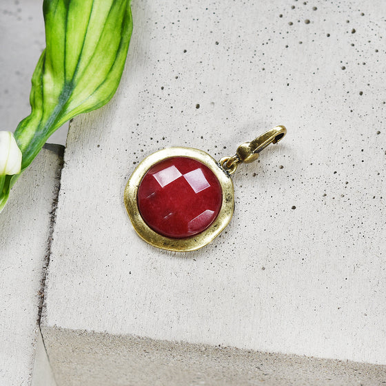 Tutti antique gold finish medium red faceted stone charm - Ellimonelli