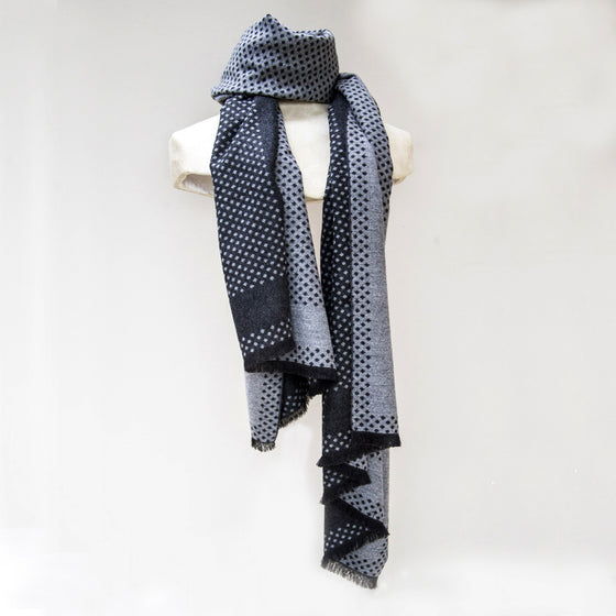 Tutti grey/charcoal spotted reversable wrap - Ellimonelli