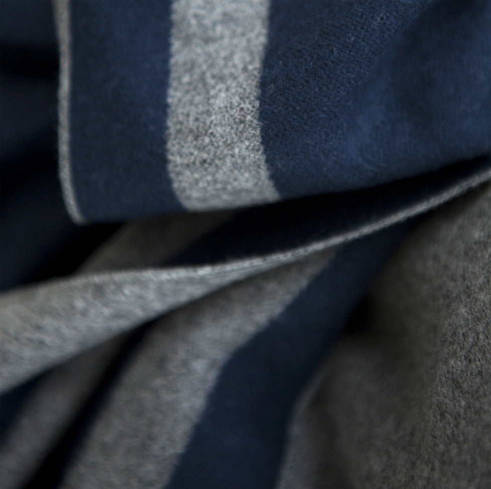 Tutti luxurious grey/navy wrap with selvedge edge detail - Ellimonelli