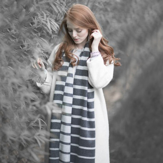 Tutti luxurious grey/black gradulated stripe wrap - Ellimonelli