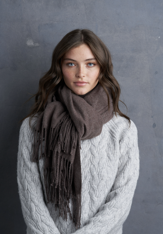Twill Cashmere Scarf-Brown