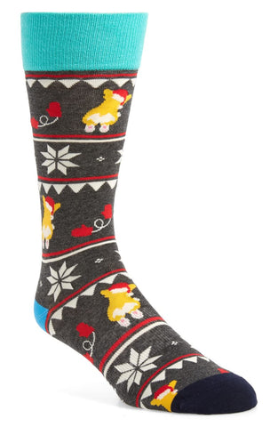 Men's Christmas Corgi-Grey Heather