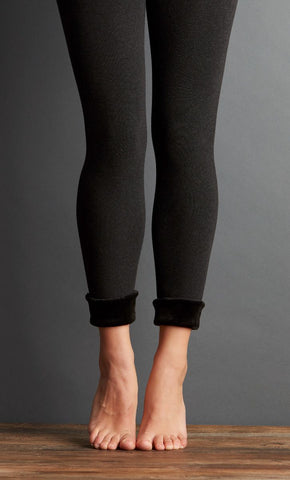 Seamless Fur Leggings - Dark Grey