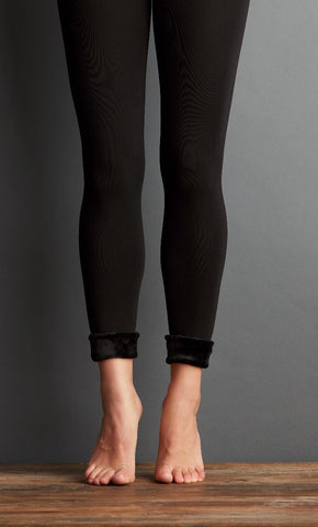 Seamless Fur Leggings - Black