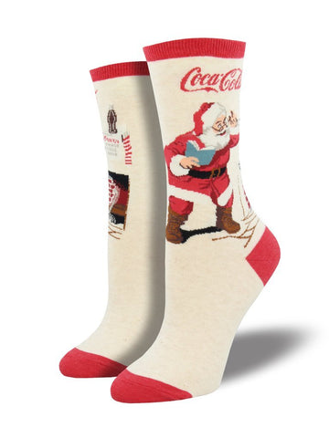 Women's Classic Coke Santa - Ivory Heather