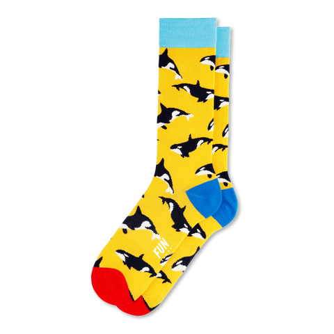 Men's Whale Socks-Yellow