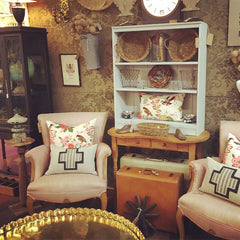 vintage pink chairs cross pillows