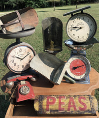 Vintage finds, scales, scoops, clocks