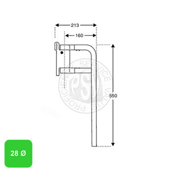 28mm Diameter Twin Tube Mirror Arm