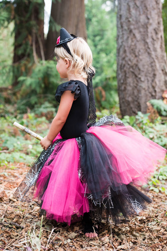 Toddler Witch Costume in Pink and Black with Broom