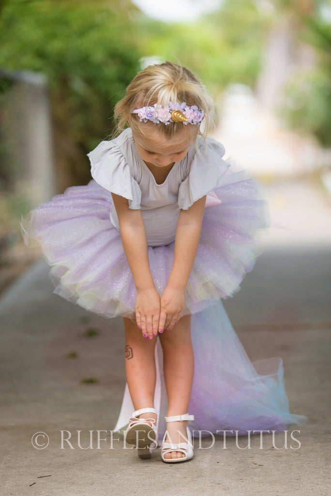 Purple Sparkle Unicorn Tutu with Tail - Toddler, Baby Kids Costumes
