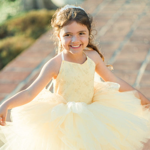 Belle inspired tutu costume dress! Gorgeous golden glitter top with golden tulle dress skirt! Baby toddler costumes!