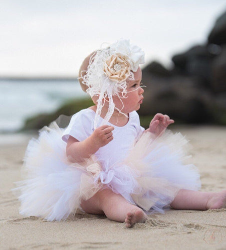 Baby Toddler White and Cream Tutu perfect cake smash Tutu for Baby or Toddler