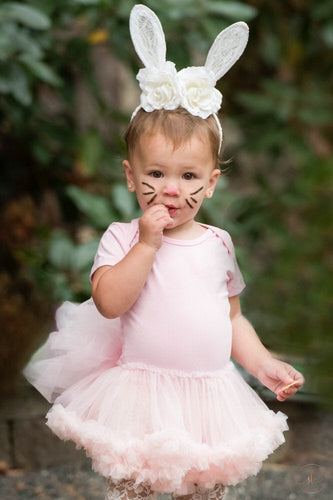 Baby girl toddler pink bunny costume! Bodysuit with attached pettiskirt and added bunny bustle! So cute and we have them for all little girl