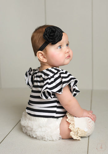 Butterfly Ruffle Sleeve Black and White striped leotard! Great for Baby and Toddler