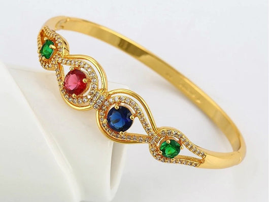 samiksha Multi color synthetic cubic zircon bangle with 24K gold plating - Samiksha's - Bangles - www.samiksha.com