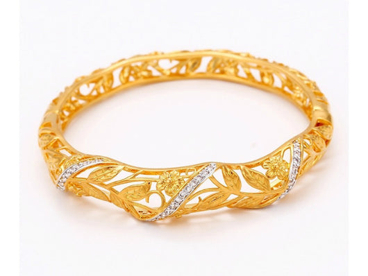 samiksha Gold plated bangle adorned with a thin band of white cubic zircons - Samiksha's - Bangles - www.samiksha.com
